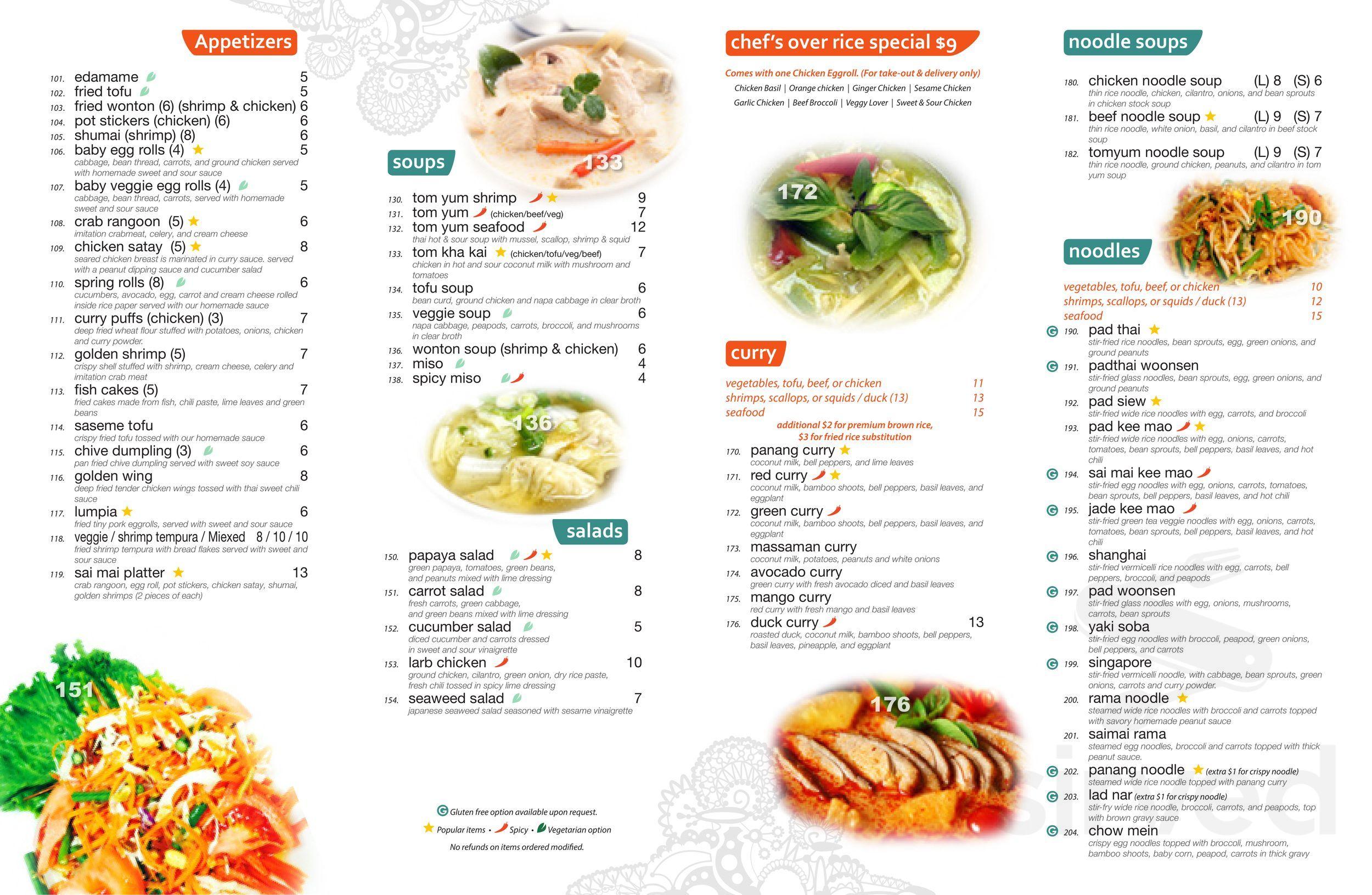 Menu For Saimai Thai Restaurant In Chicago Illinois Usa