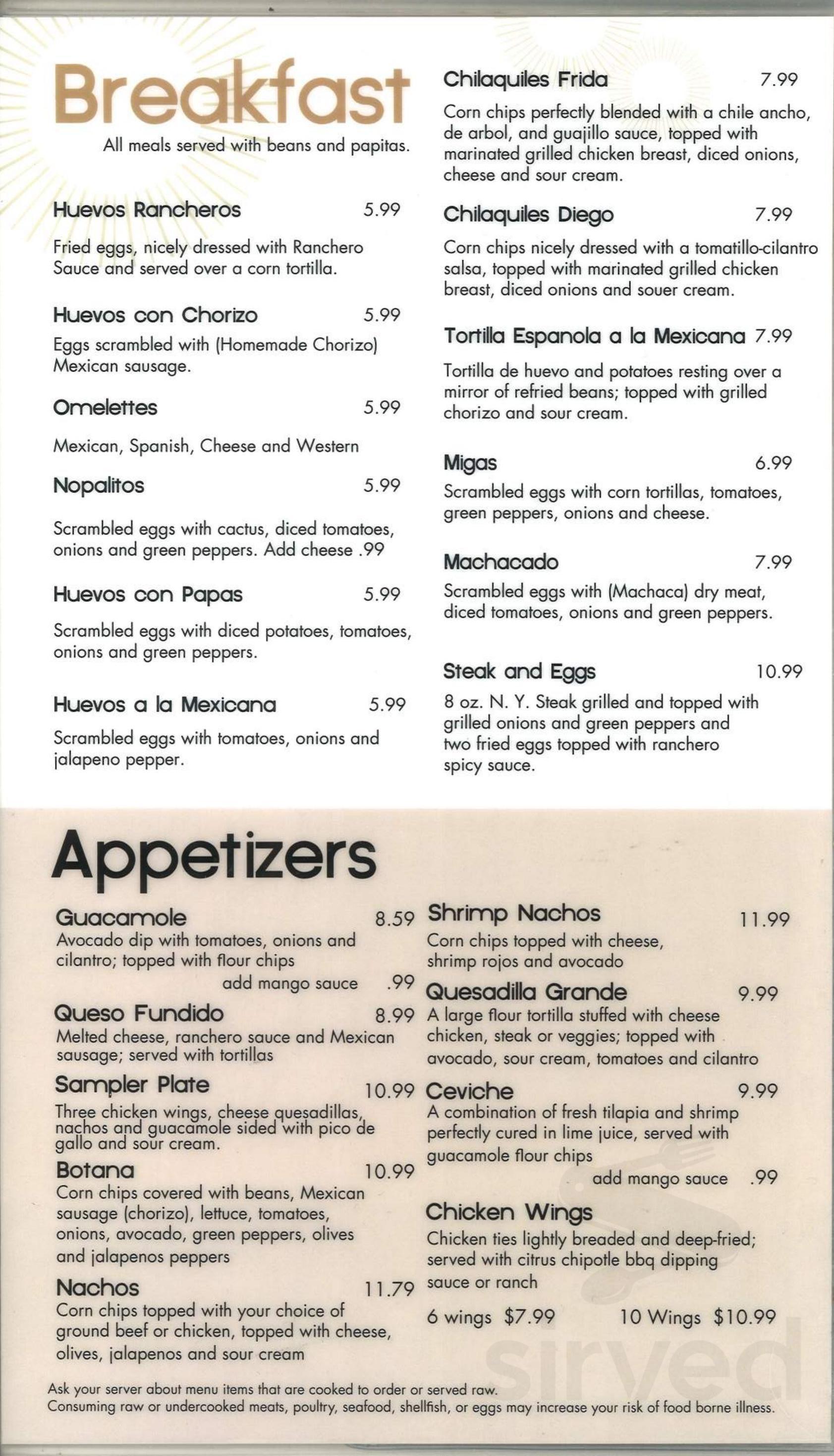 Menu for Frida Mexican Cuisine in Dearborn, Michigan, USA