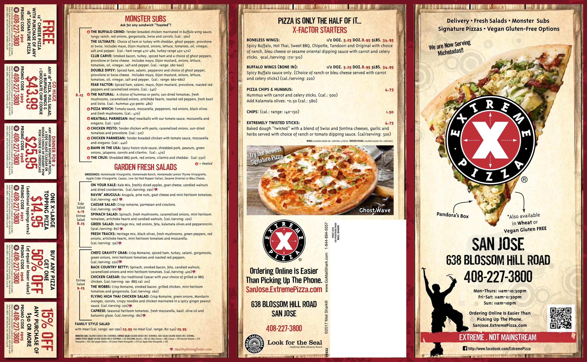 Menu for Extreme Pizza San Jose in San Jose, California