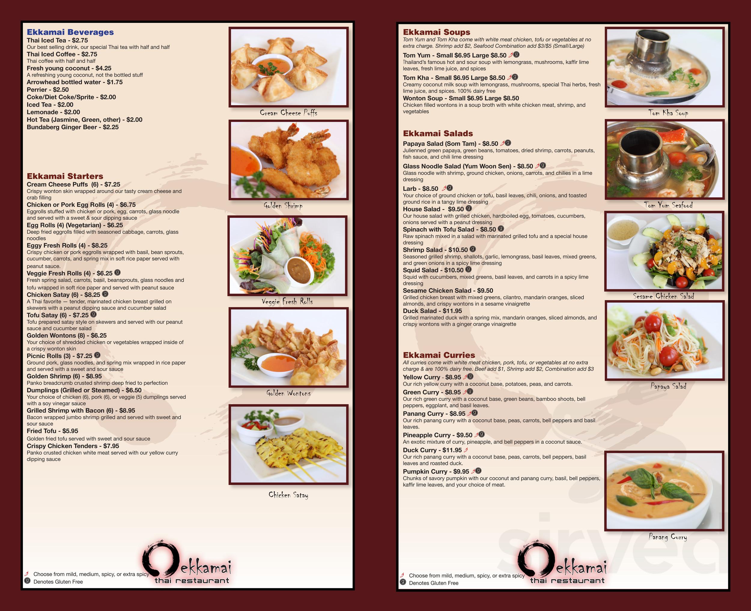 Ekkamai Thai Restaurant Menu In Los Angeles California