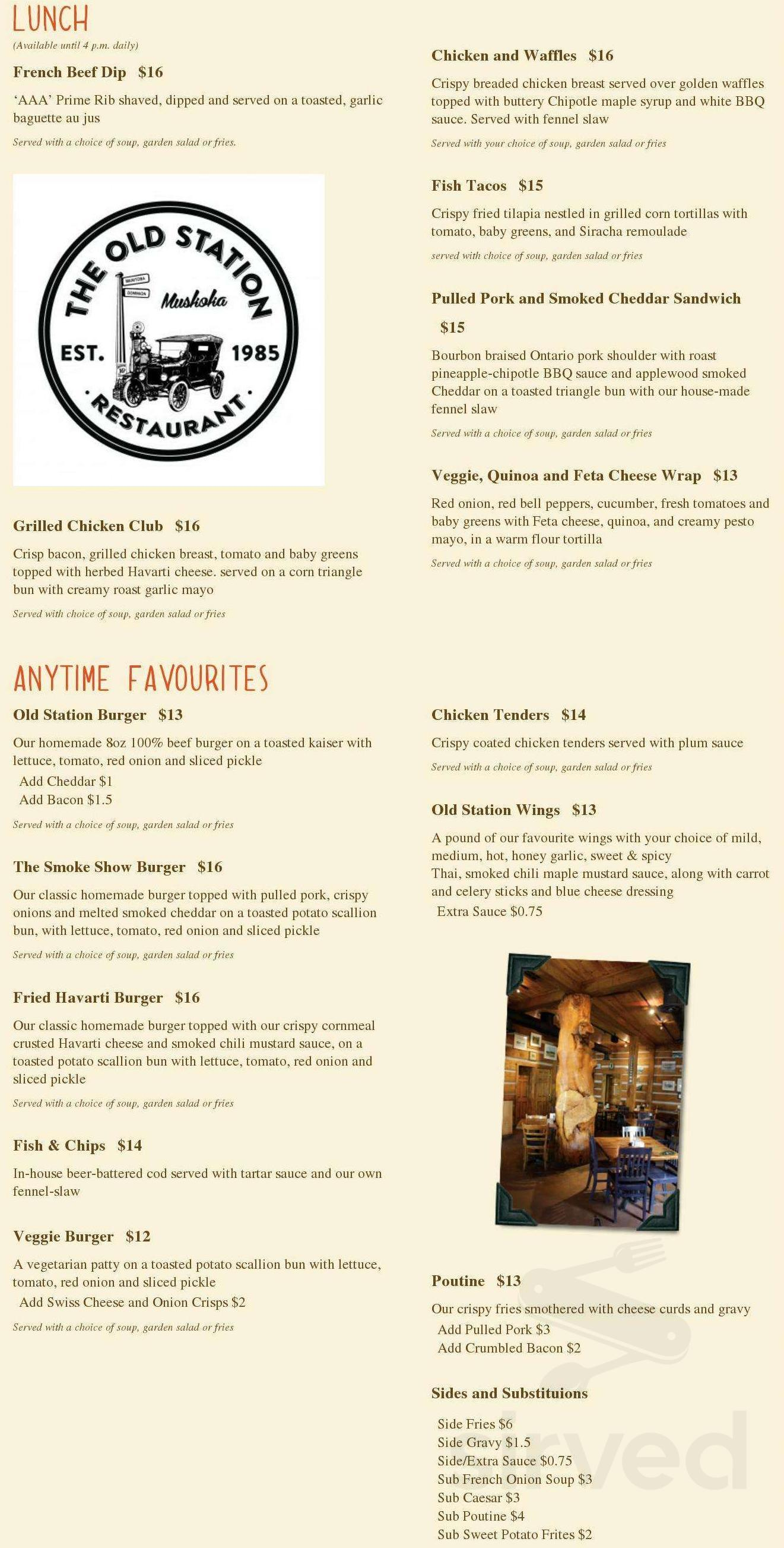 Menu for The Old Station Restaurant in Bracebridge, Ontario