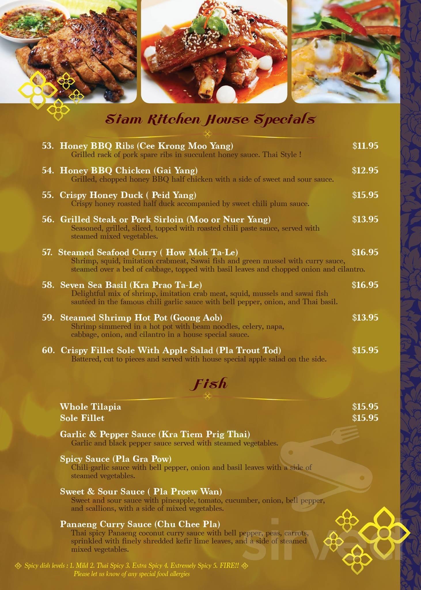 Siam Kitchen Thai Cuisine Menu In Temecula California Usa