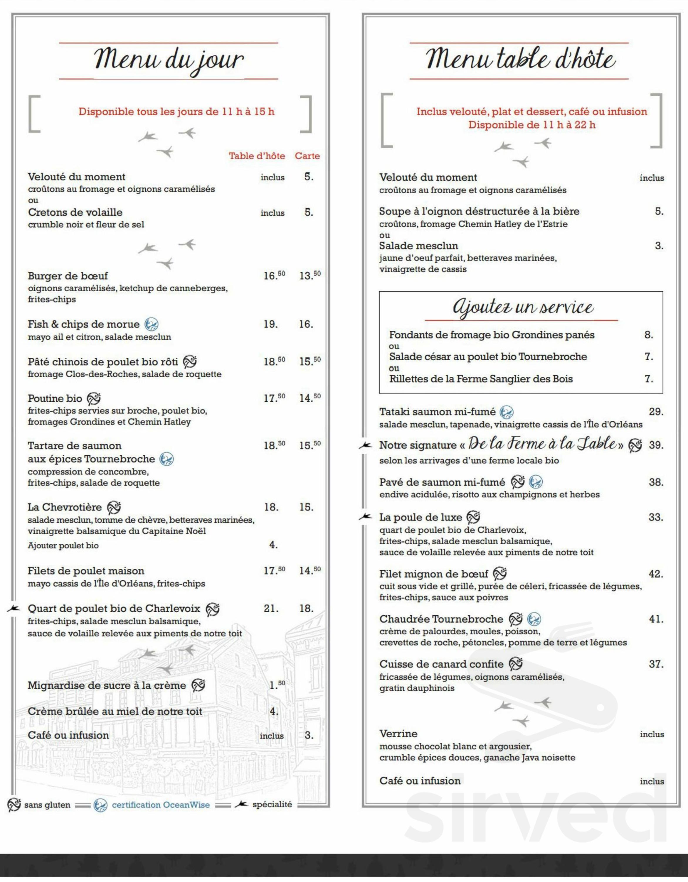 de La Ferme à la table menu in Québec, Quebec, Canada