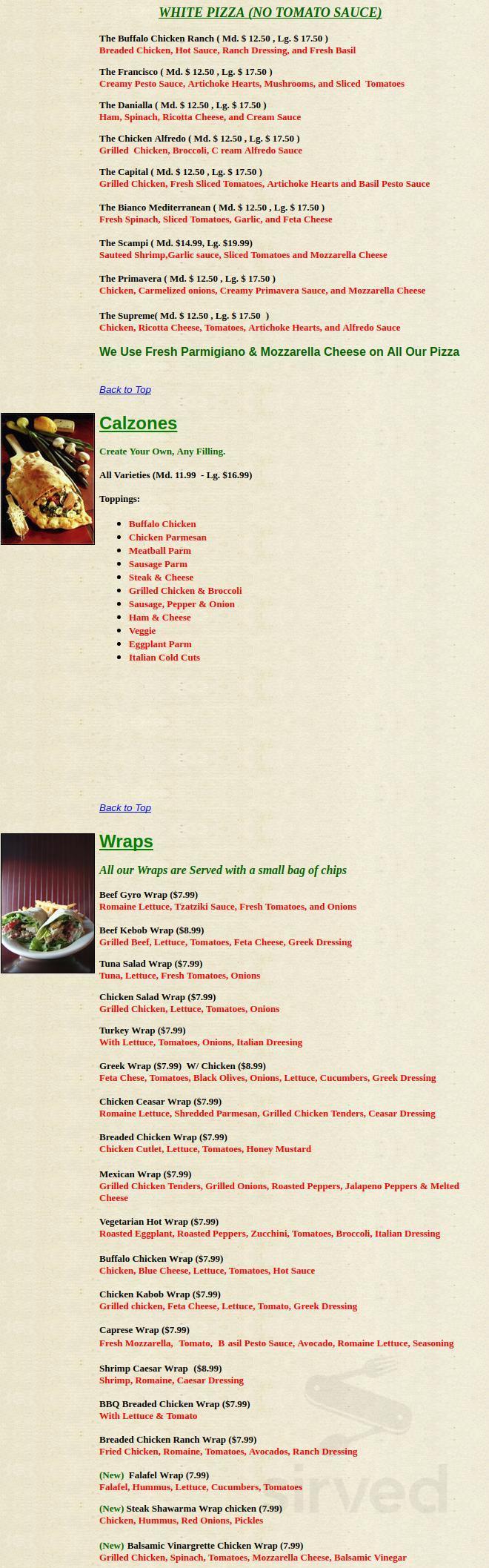 Alfredo S Italian Kitchen Menu In Somerville Massachusetts Usa