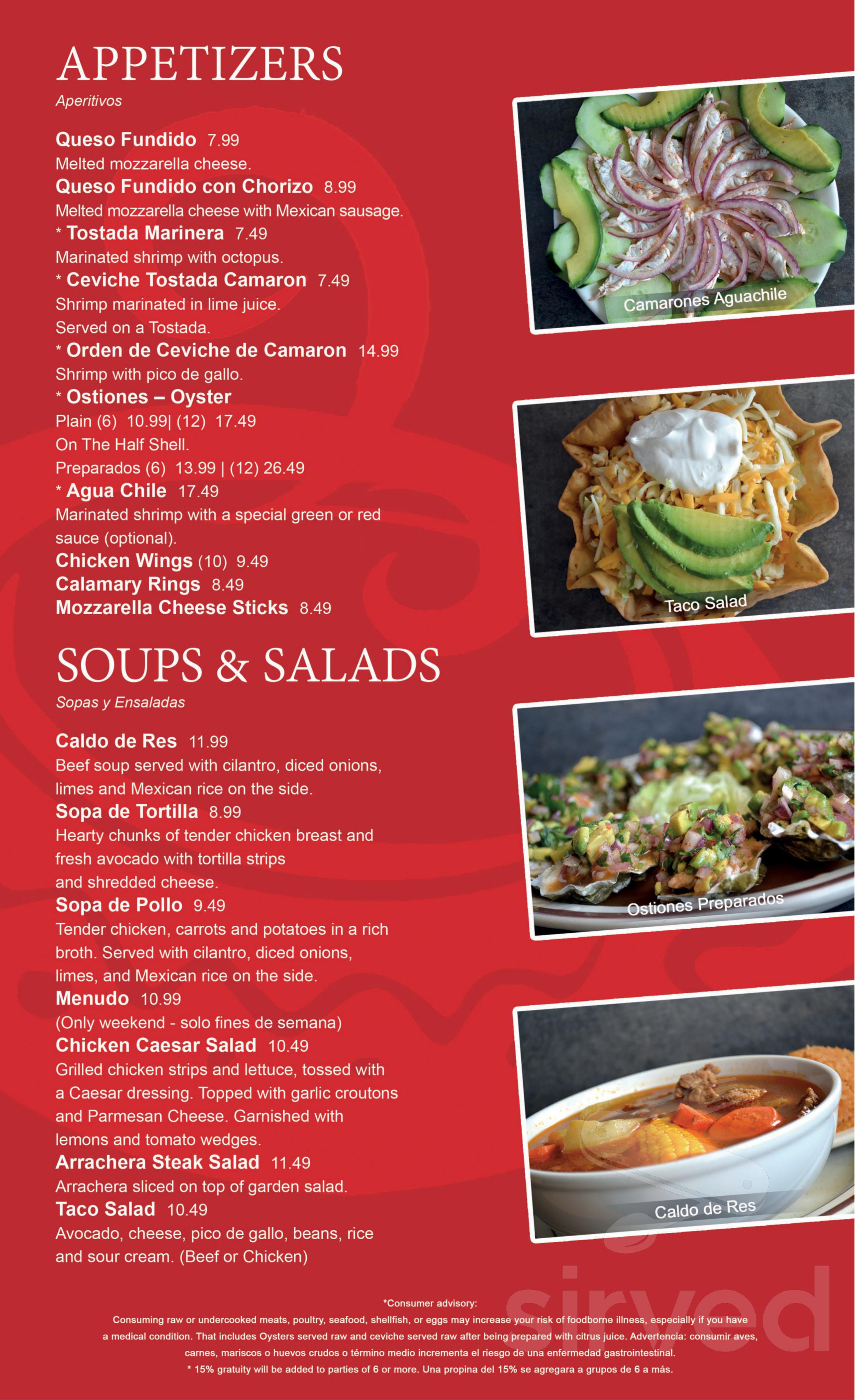 Menu For Las Cazuelas Mexican Seafood Restaurant In