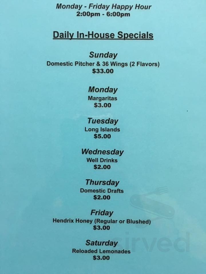 Menu For Wings Express Reloaded In Hubbard Ohio Usa