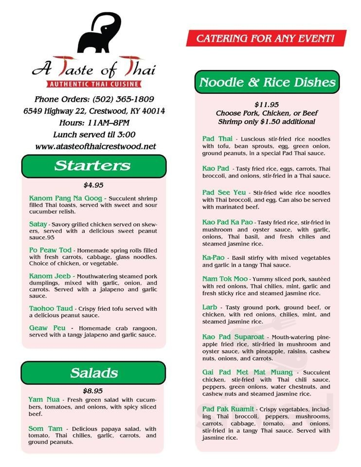 A Taste Of Thai Menu In Crestwood Kentucky Usa