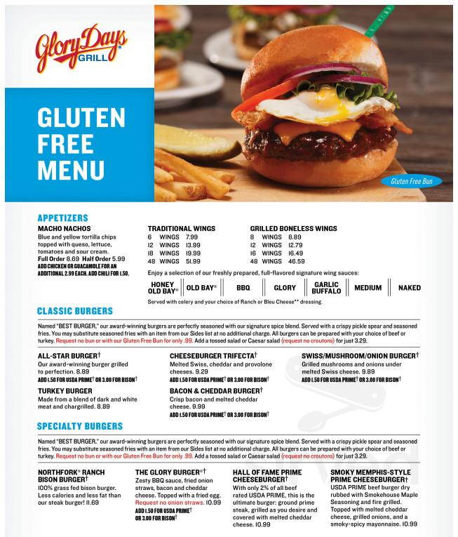 Menu for Glory Days Grill in Brandon, Florida, USA