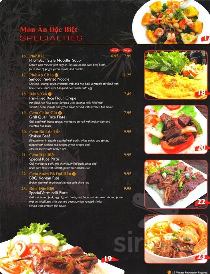 Pho Oxnard Vietnamese Restaurant Menu In Oxnard California