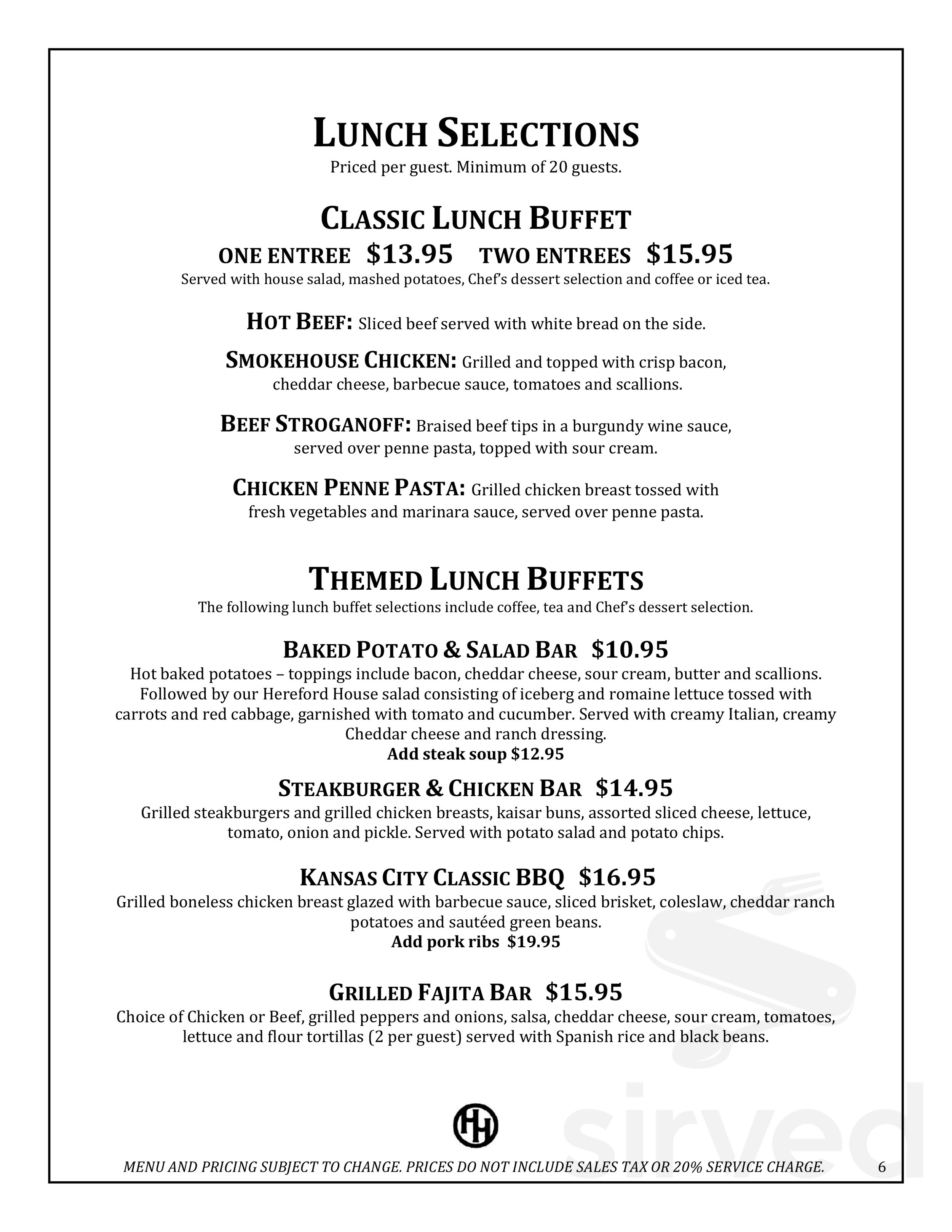Menu For Hereford House In Andover Kansas Usa
