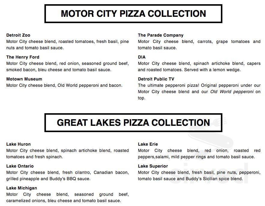 Superior Motors Menu >> Menu For Buddy S Pizza In Grosse Pointe Michigan Usa