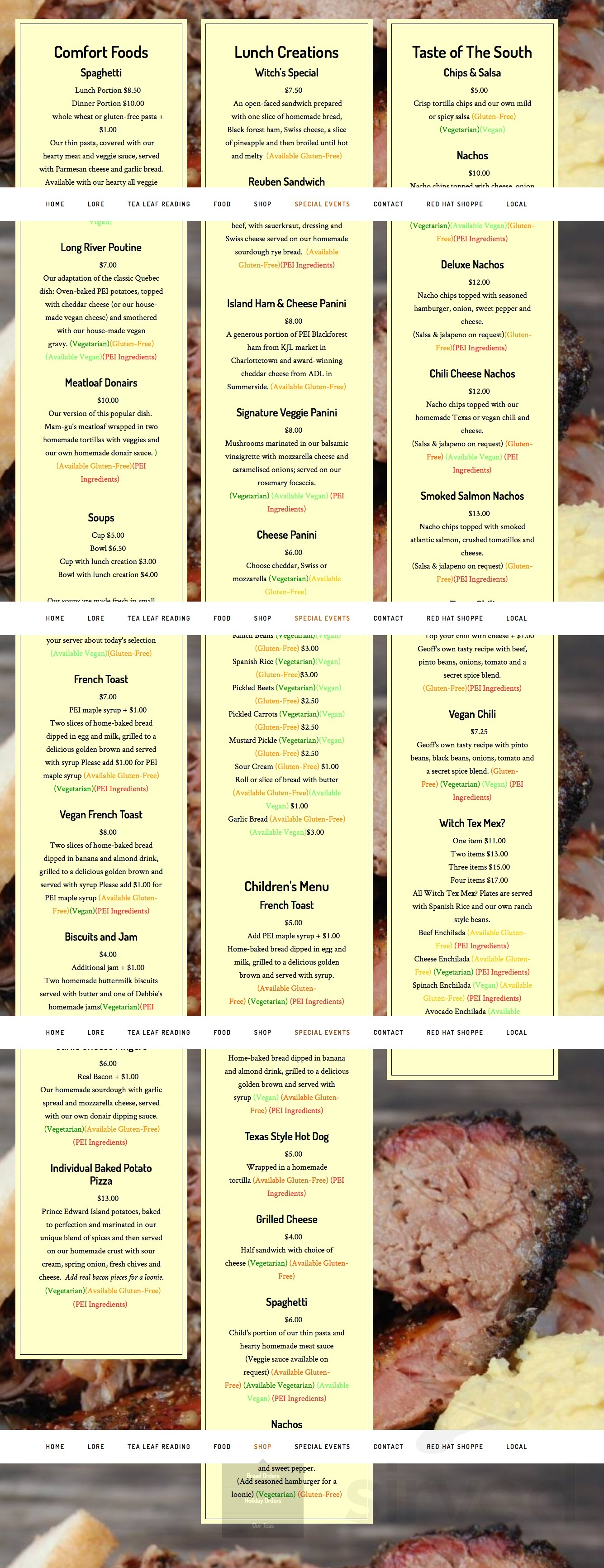 Menu for Kitchen Witch Tea Room & Country Crafts (The) in Kensington