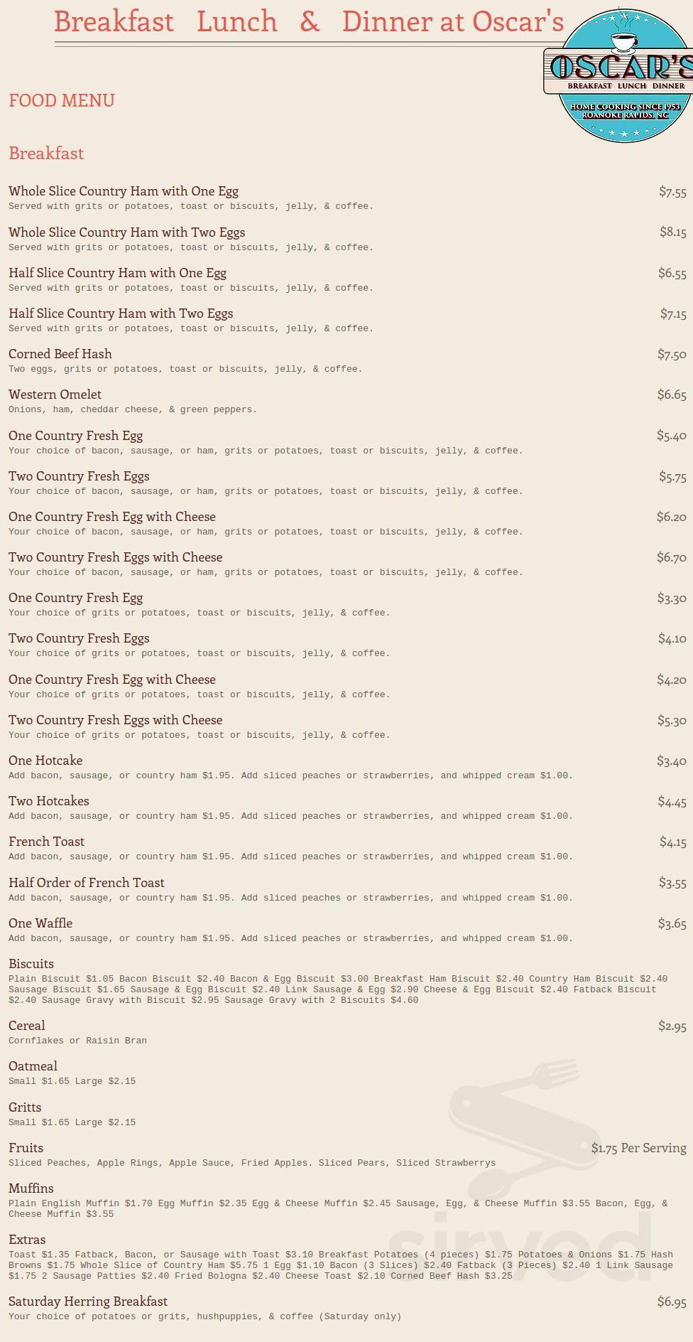 Menu For Oscar S Restaurant In Roanoke Rapids North Carolina