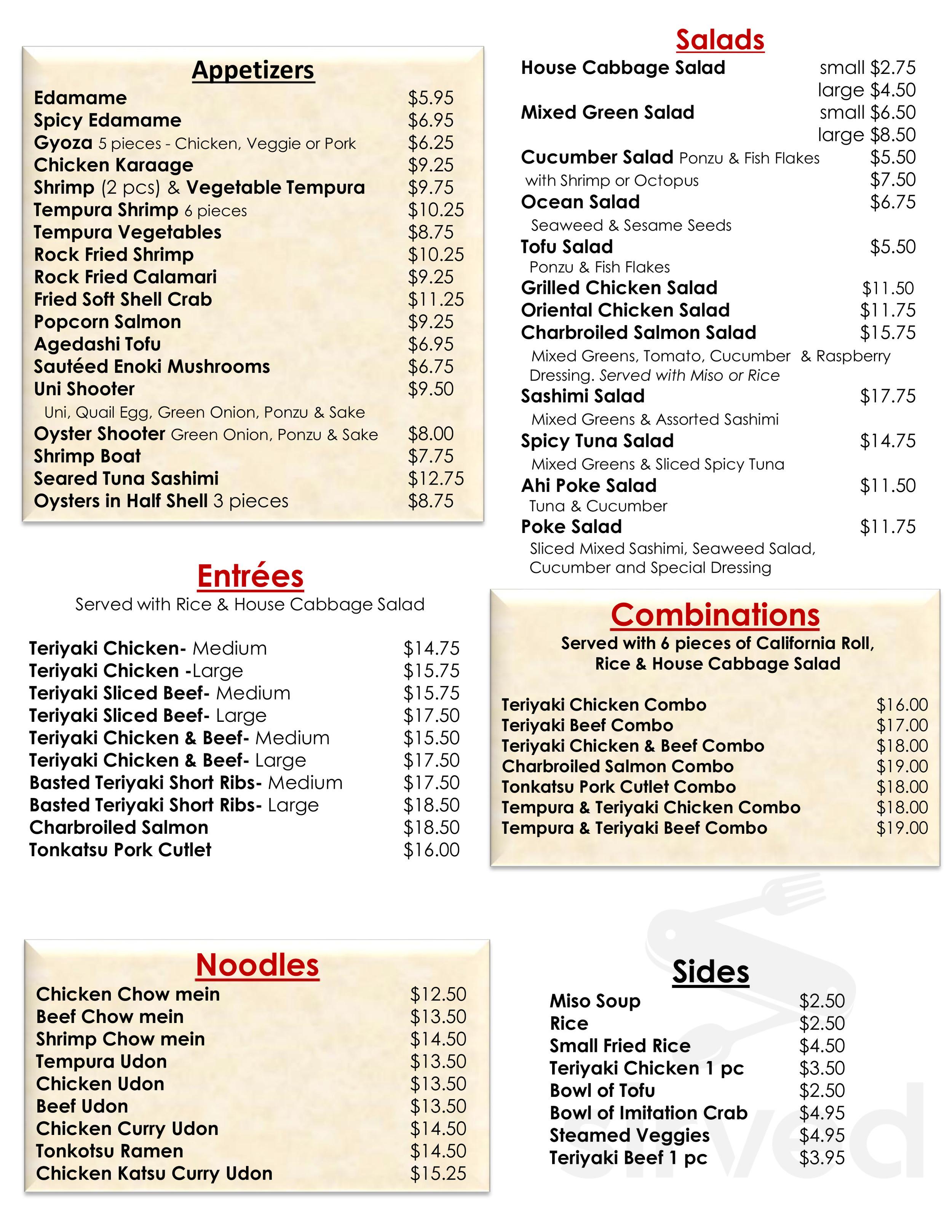Menu For Sushi Teri In Goleta California Usa