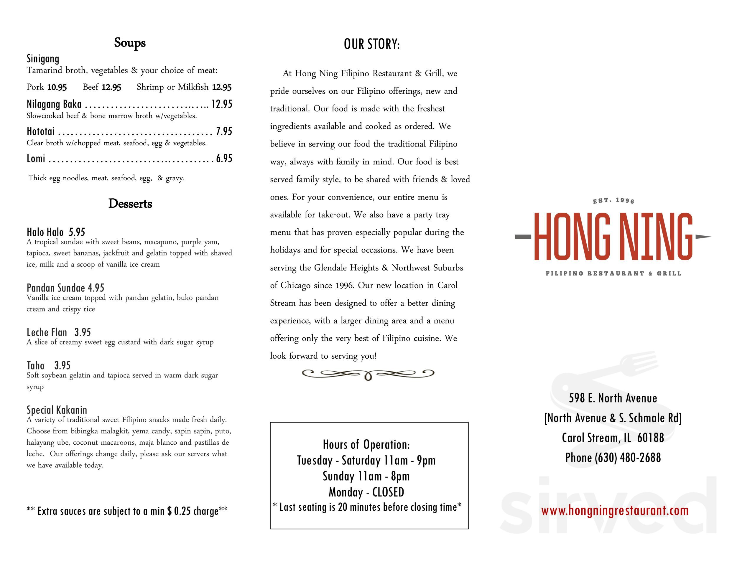 Menu For Hong Ning Filipino Restaurant Grill In Carol