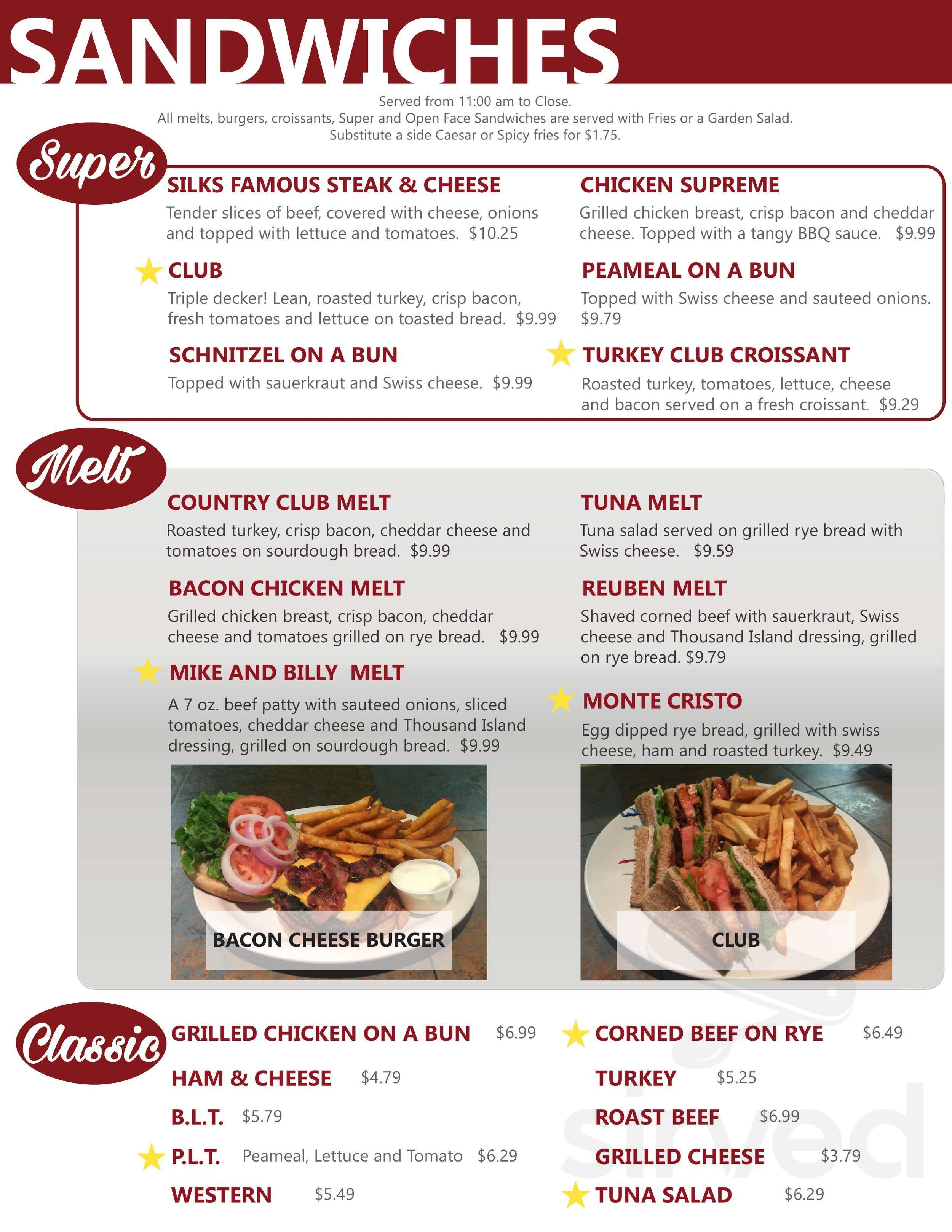 Menu For Silks Country Kitchen In Virgil Ontario Canada