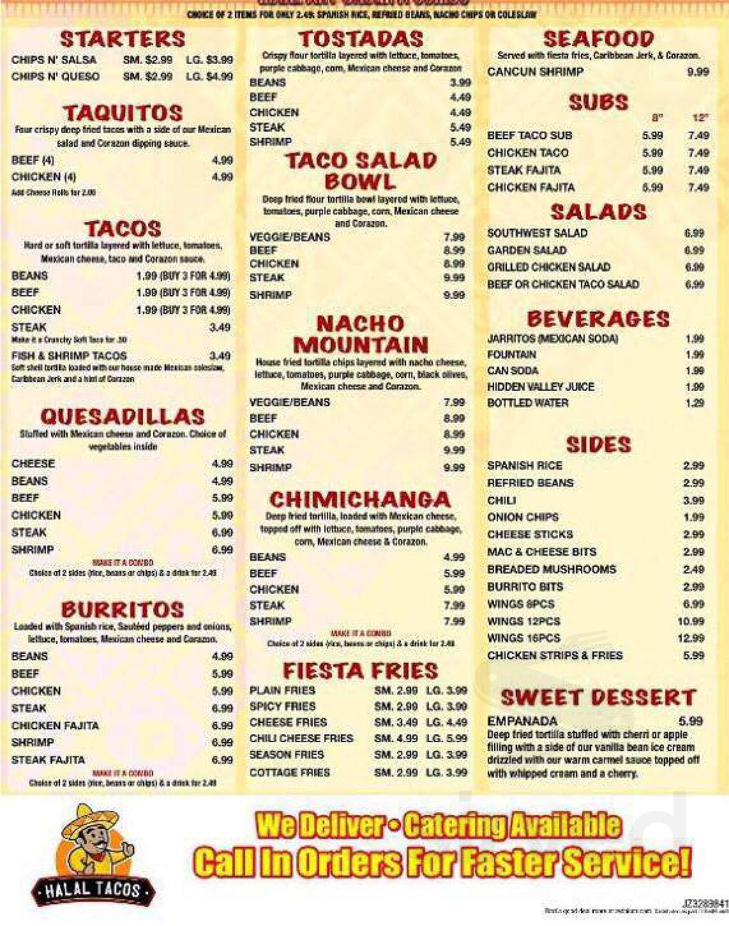 Menu for Halal Tacos in Garden City, Michigan, USA
