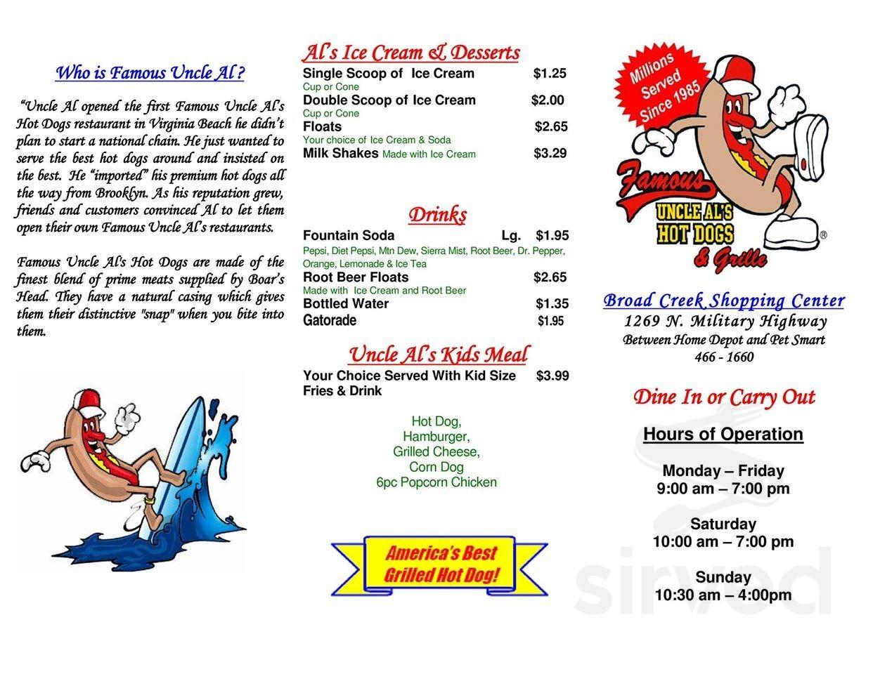 Menu for Famous Uncle Al's Hotdogs in Norfolk, Virginia