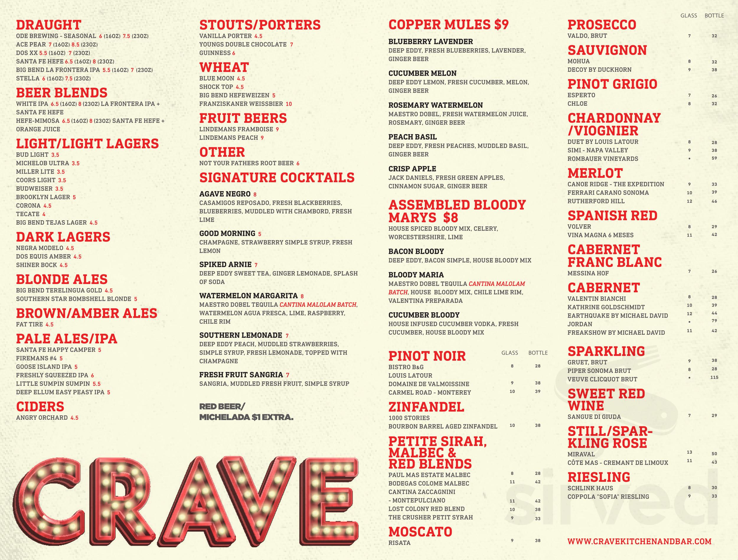 Crave Kitchen Bar Menu In El Paso Texas Usa