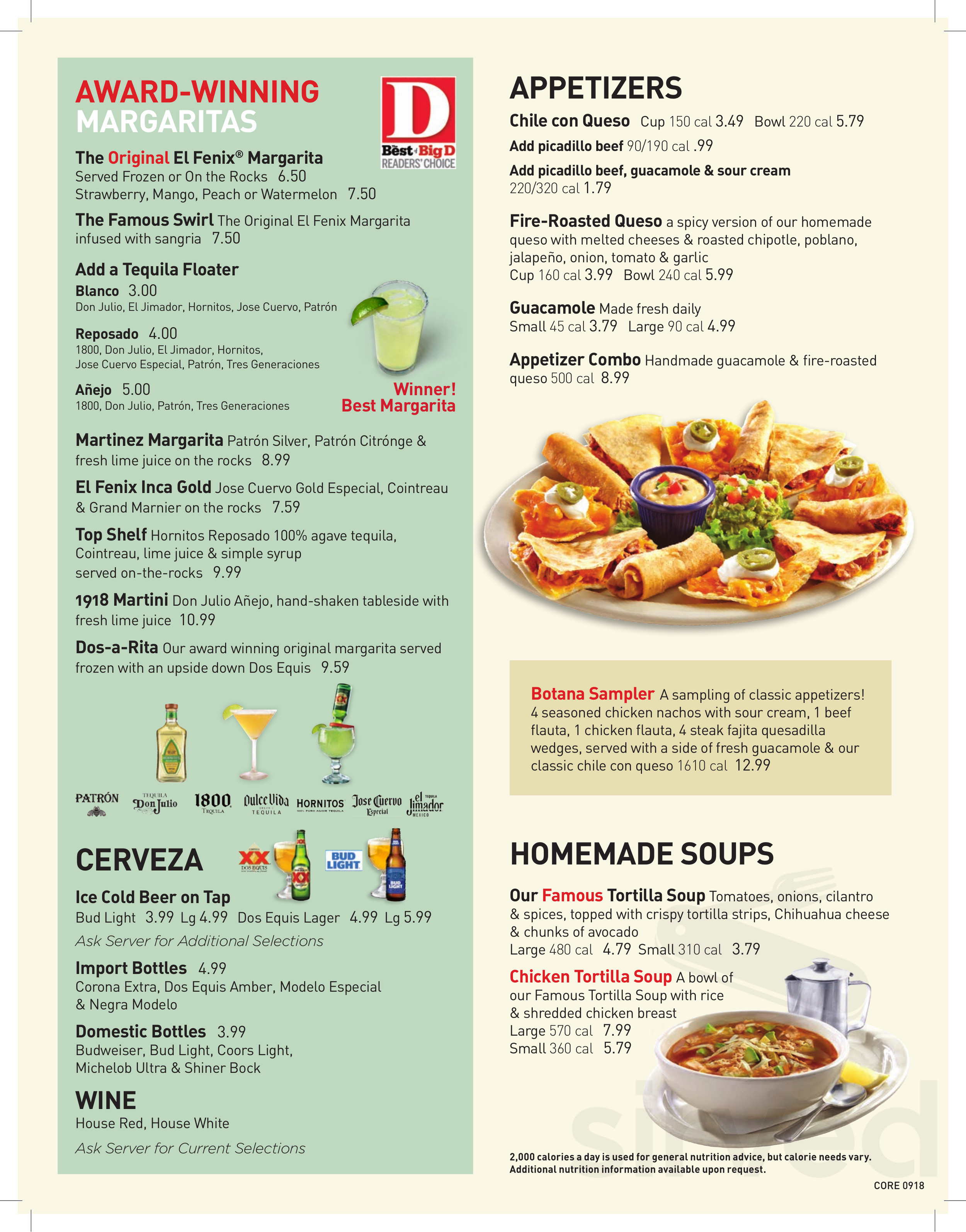 Menu For El Fenix Mexican Restaurant In Dallas Texas