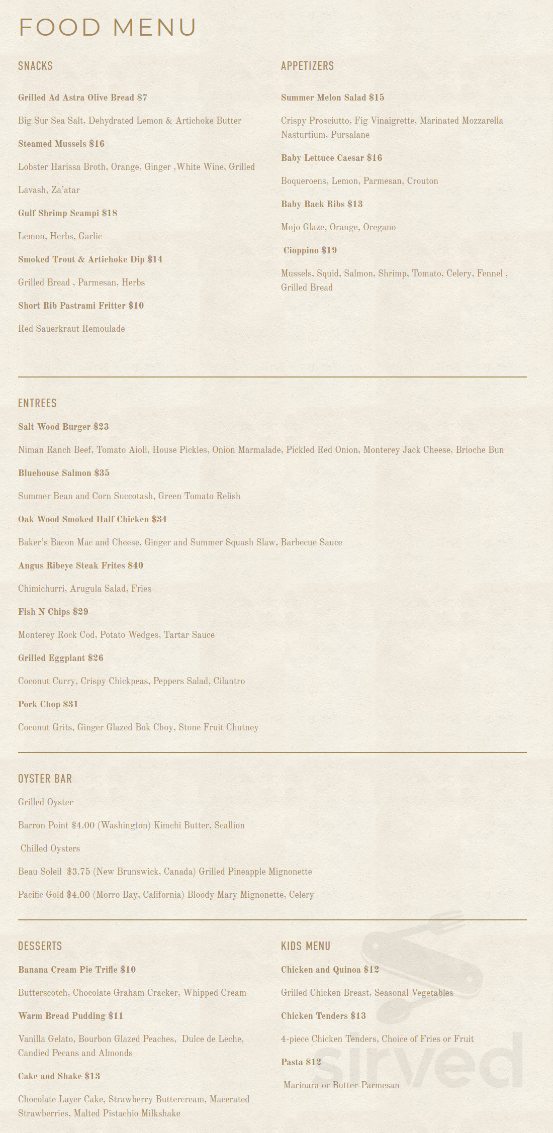 Salt Wood Kitchen And Oysterette Menu In Marina California Usa