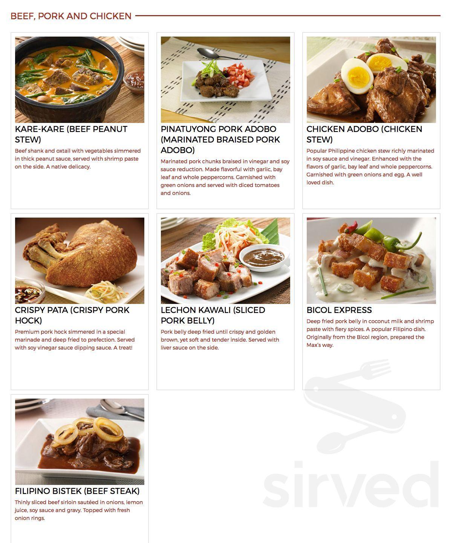 Menu for Max's Restaurant, Cuisine of the Philippines in