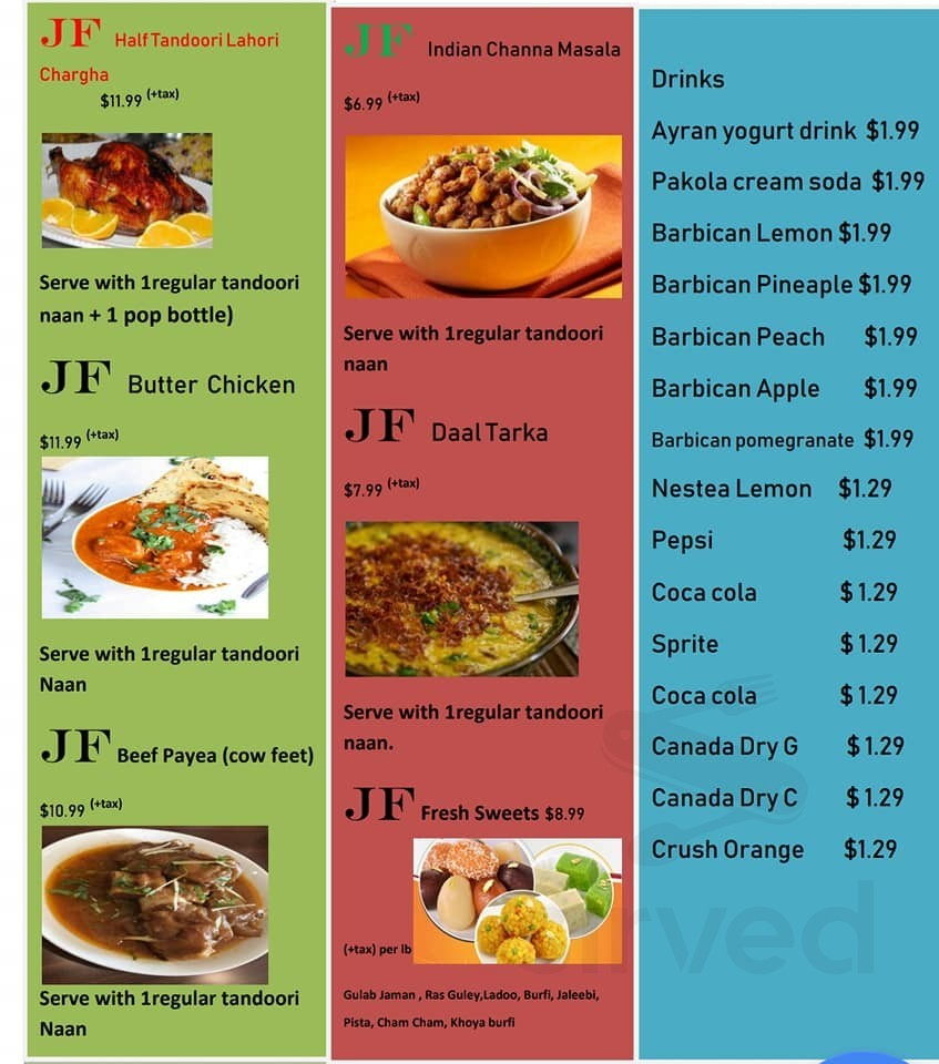 Jannat Foods Halal Restaurant Menu In London Ontario