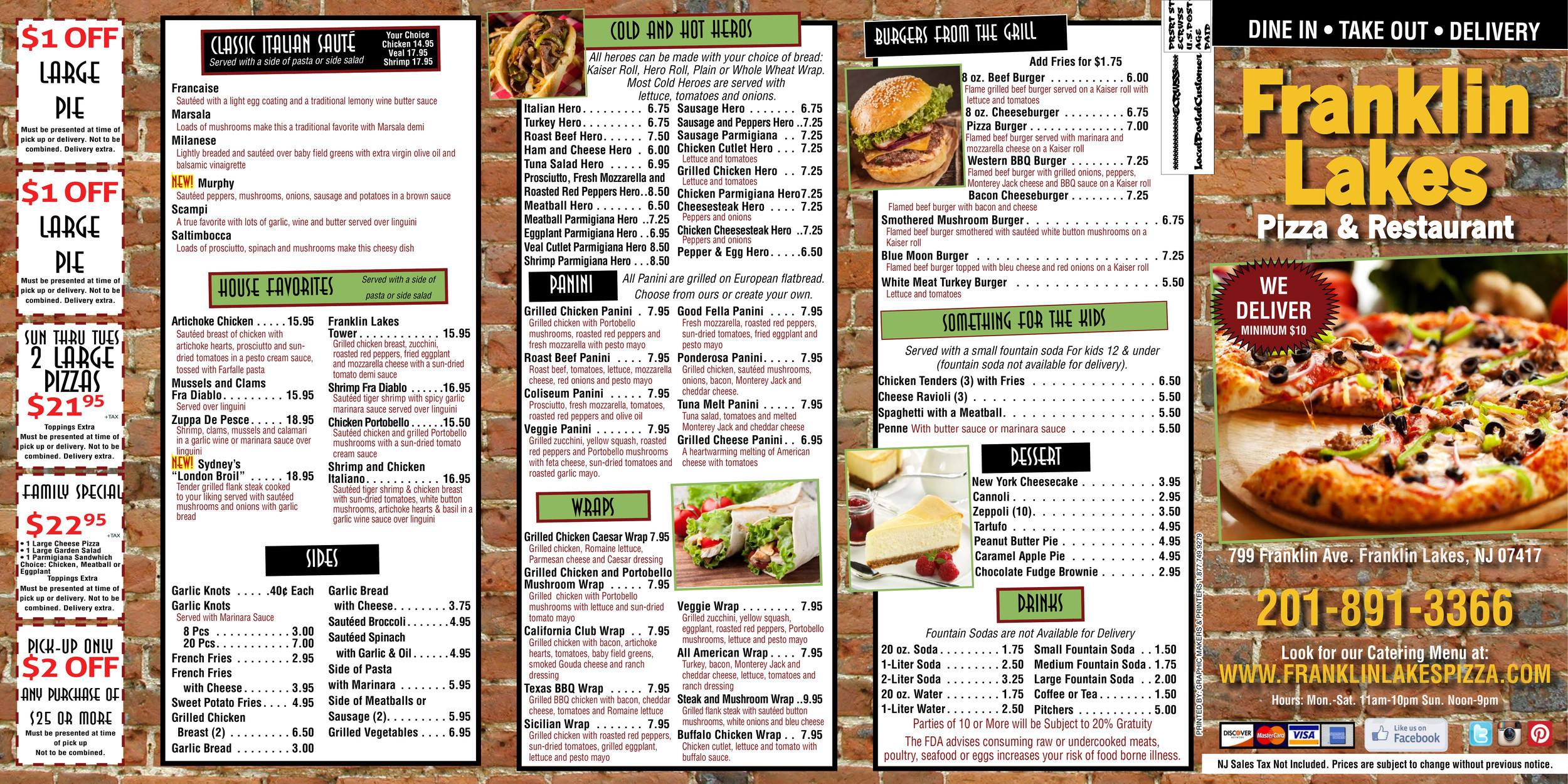 Menu For Franklin Lakes Pizza Restaurant In Franklin Lakes