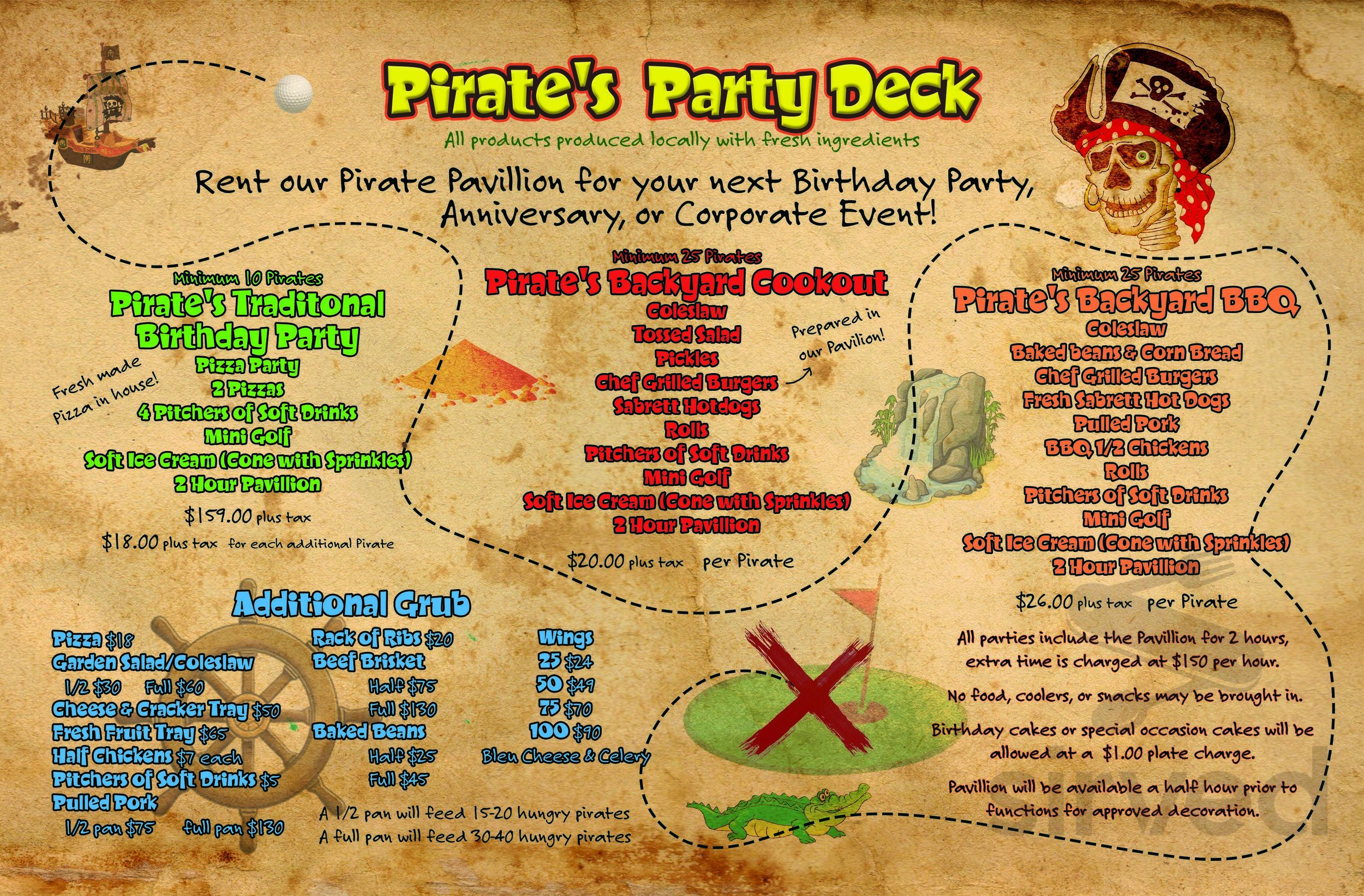 Menu For Pirate S Hideout In Waterford New York Usa
