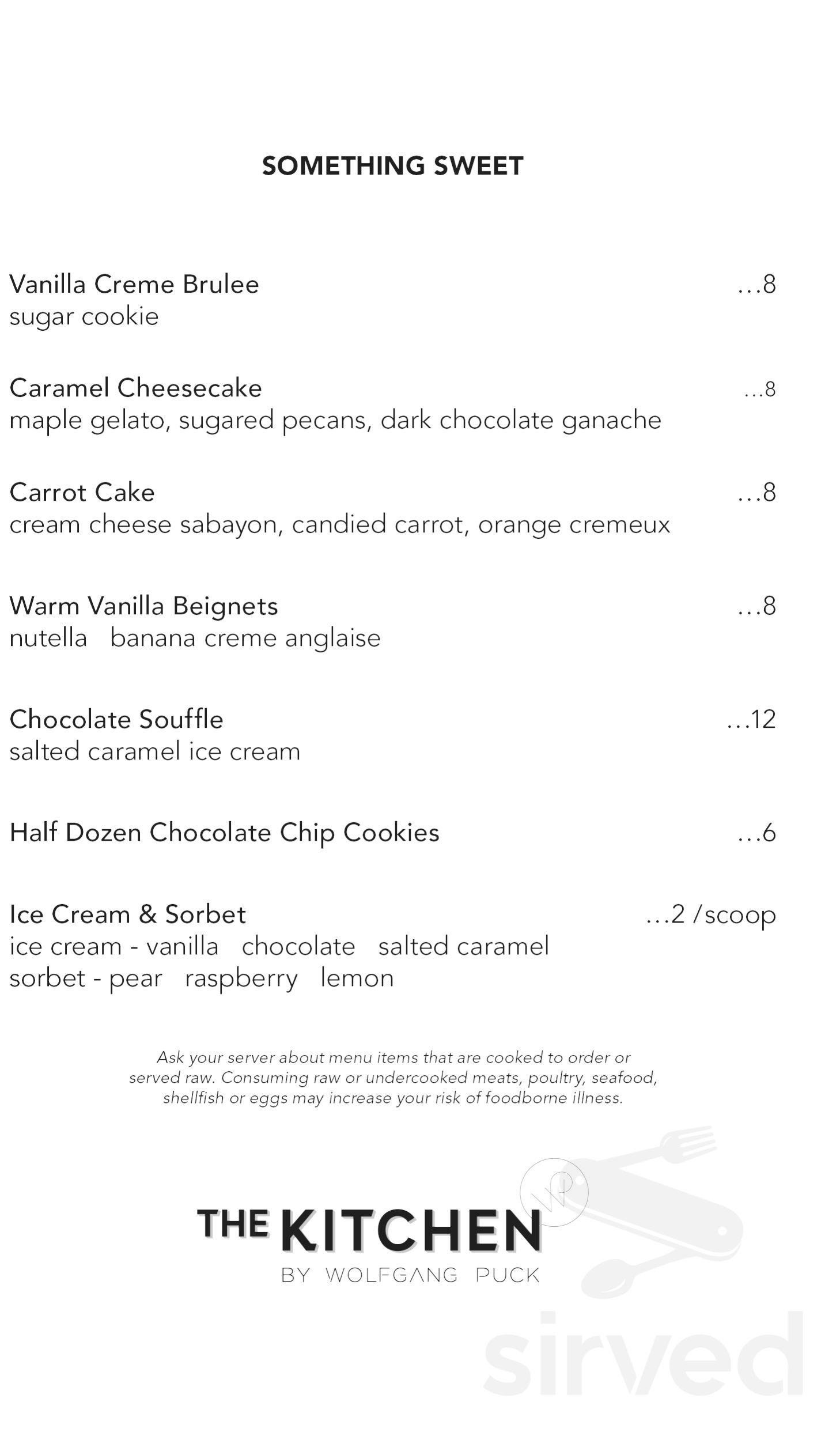 Menu for The Kitchen by Wolfgang Puck in Grand Rapids, Michigan