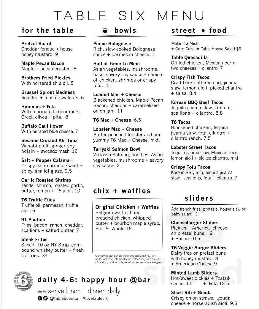 Table Six Kitchen Bar Menu In North Canton Ohio Usa