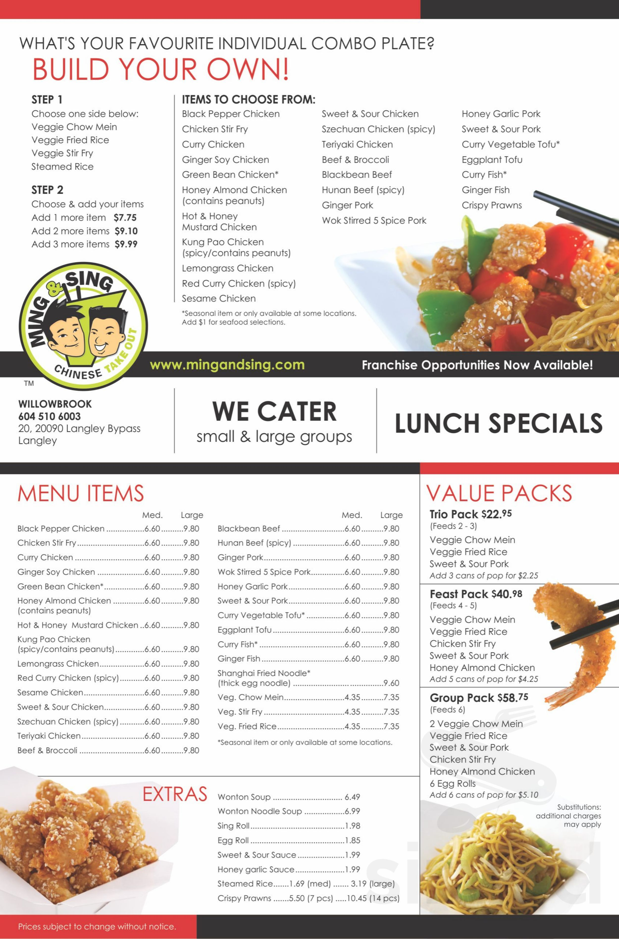 Ming And Sing Chinese Kitchen Menu In Langley British Columbia Canada