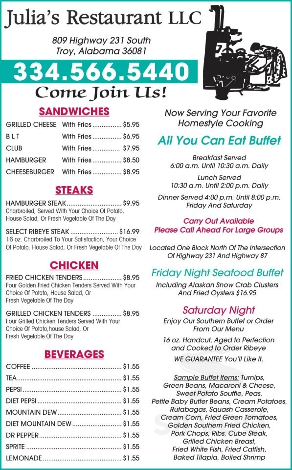 Menu For Julia S Restaurant In Troy Alabama Usa