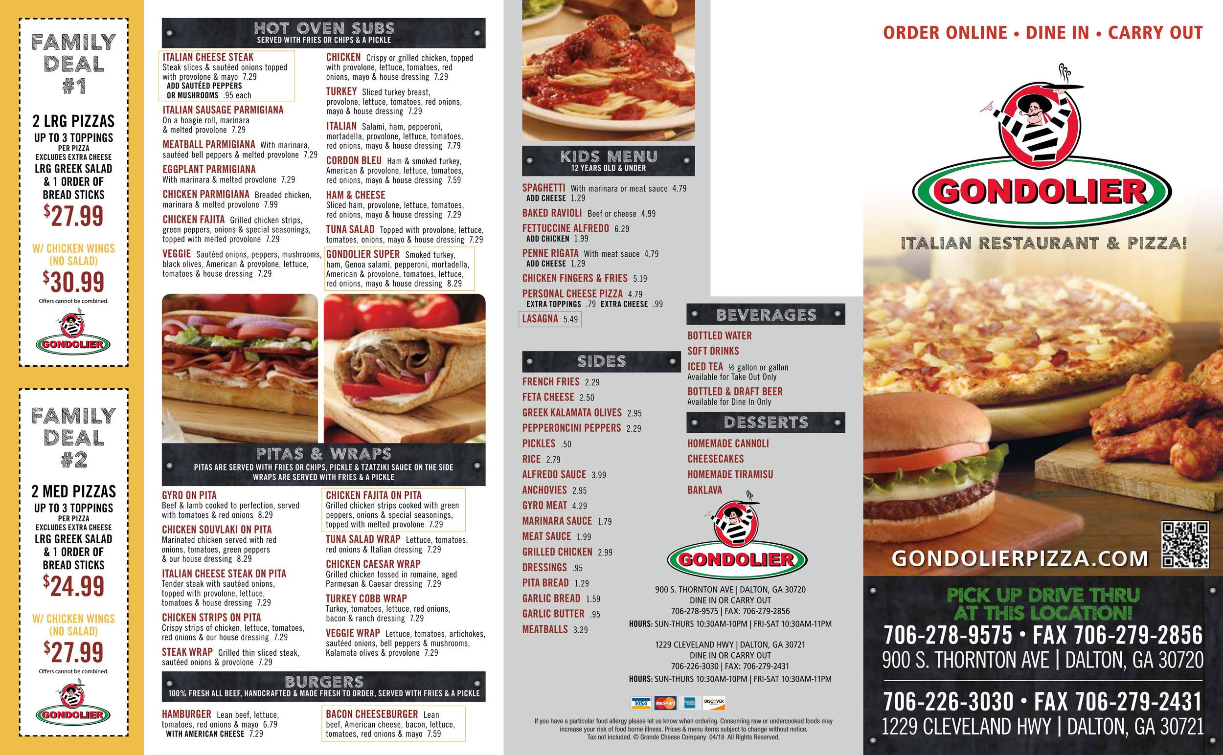 Menu for Gondolier Italian Restaurant & Pizza in Dalton, Georgia