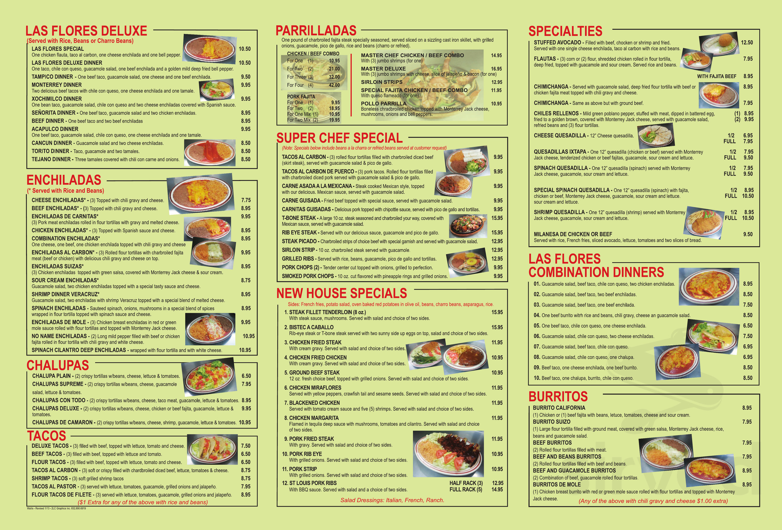 Las Flores Mexican Restaurant Menu In Wallis Texas Usa