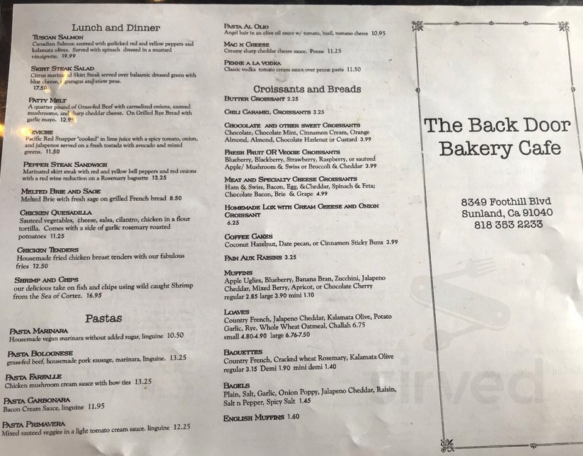 Menu for The Back Door Bakery & Cafe in Sunland-Tujunga