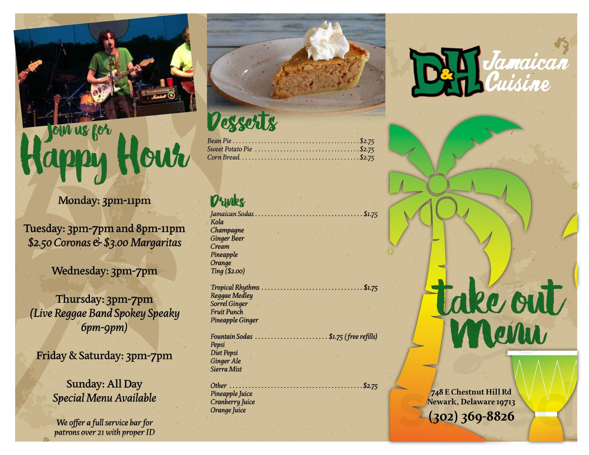 d  h jamaican cuisine menu in newark delaware usa